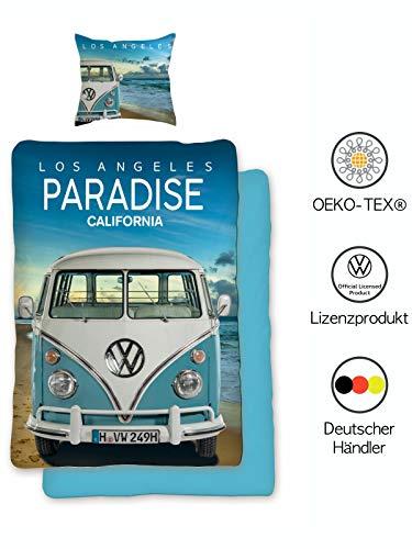 Bettwäsche VW Bulli 135x200 cm 80x80 | VW Bus Wende-Bettwäsche-Set | VW Geschenke für Männer| Öko-Tex Standard 100 | Deutsche Standardgröße