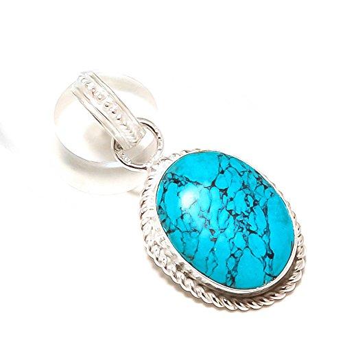 Shivi ¡Turquesa Azul ¡Ropa exótica Colgante de tamaño pequeño de 1'de Largo, Gema, Chapado en Plata esterlina, Hecho A Mano. Joyas