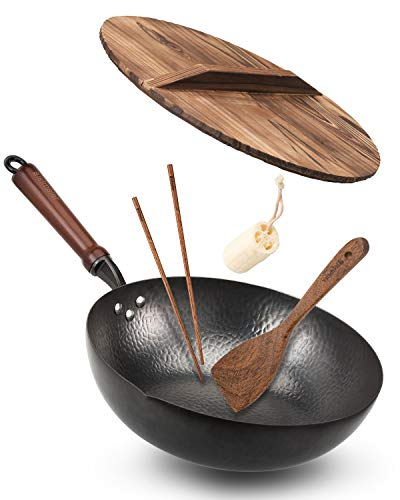 Bielmeier Wok Pan 12.5', Woks and Stir Fry Pans with lid, Carbon Steel Wok with Cookware Accessories, Wok with Lid Suits for all Stoves(Flat Bottom Wok)