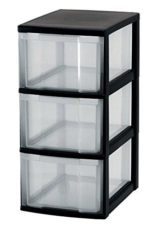 Iris Ohyama, Schubladenschrank auf Rollen / Rollcontainer - New Chest NMC-303 - plastik, schwarz, 3 x 15 L, L30 x B38 x H67 cm