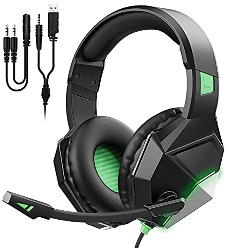 Gaming Headset Green for PS5/PS4/PC Computer Headset with Noise-Cancelling Microphone, Xbox Headset with 3D Stereo Sound, Soft Sponge Earmuffs, 254g Gaming Headset LED Light
