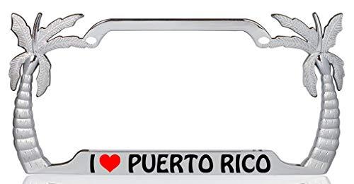 I Love Puerto Rico Palm Tree Design Chrome Metal Auto License Plate Frame Car Tag Holder
