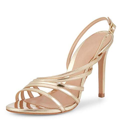 BZGG Verano Mujer Sandalias Zapatos Hechos a Mano Puntiagudo Punta Abierta Fiesta de Boda Elegante Pantuflas Stiletto,Gold -37