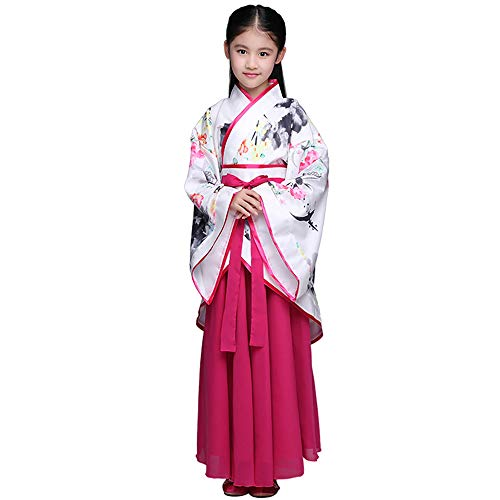 Read About FXNN Hanfu-Chinese Style Ink Hanfu Costumes (Color : Rose Red, Size : 120cm)