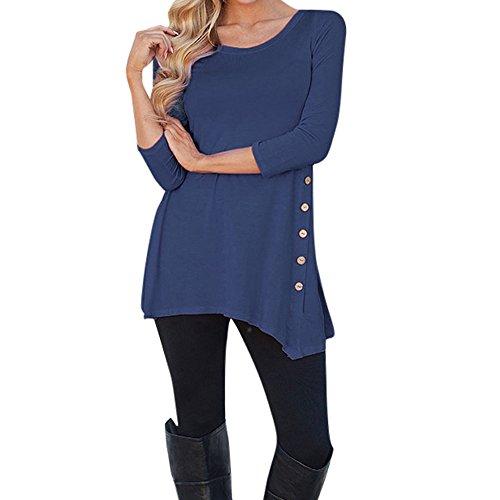 JUTOO Frauen Langarm Lose Knopfleiste Bluse einfarbig Rundhals Tunika T-Shirt(A3-DarkBlau,Small)