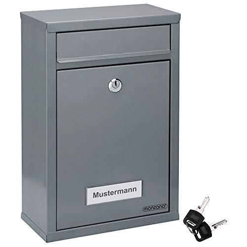 Deuba Briefkasten Silber inkl. 2 Schlüssel Namensschild abschließbar Mailbox Briefkastenanlage Postkasten Stahl