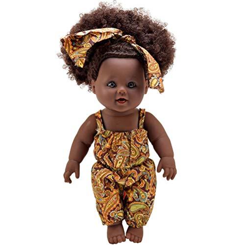 KAMLIKE Muñecas de Jugar a Las muñecas niña Africana muñeca Realista del bebé con el Pelo Rizado Brown Eyes Regalo para los niños