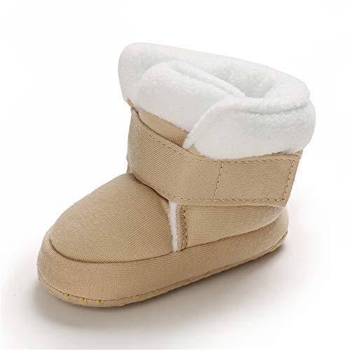 MASOCIO Baby Winterschuhe Junge Mädchen Babyschuhe Winter Baby Boots Winterstiefel Schuhe Stiefel Khaki Größe 20 12-18 Monate