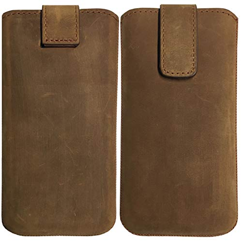 MOELECTRONIX ECHT Leder Hülle passend für Apple iPhone 12 Mini | Schutz Tasche Slim Lederhülle mit Klettverschluss | HQ BRAUN