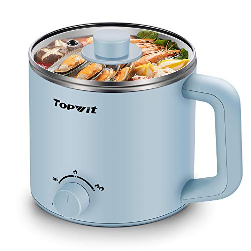 Topwit Electric Hot Pot, Mini Ramen Cooker, 1.6L Noodles Pot, Multifunctional Electric Cooker for Pasta, Shabu-Shabu, Oatmeal, Soup and Egg with Over-Heating Protection, Boil Dry Protection, Blue
