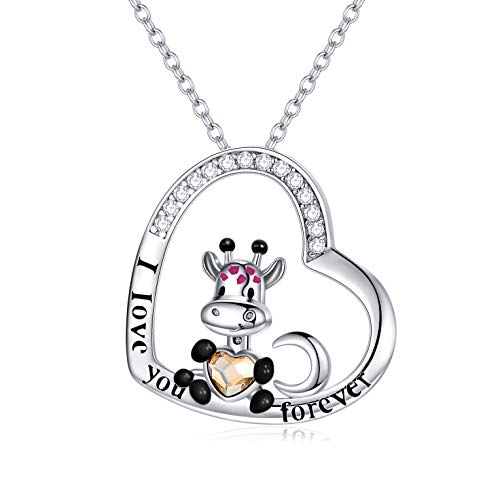 AOBOCO Cute Giraffe Necklace Sterling Silver Crescent Moon Heart Giraffe Pendant Embellished with Crystals from Austria - I Love You Forever, Birthday Anniversary Giraffe Jewelry Gifts for Women