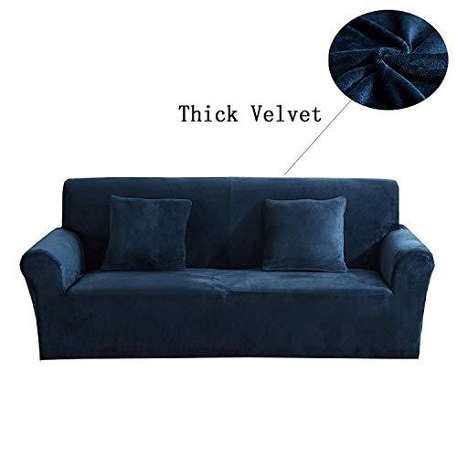 Copridivano Spesso per sofà a 1/2/3/4 posti, colorato, in Tessuto Elasticizzato Vellutato per Un'aderenza Perfetta e Facile Size 3 Seater(190-230cm) (Blu Scuro)