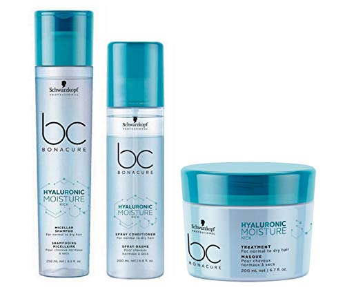 Schwarzkopf Bonacure Hyaluronic Moisture Kick Micellar Shampoo 250ml, Spray Conditioner 200ml & Treatment 200ml