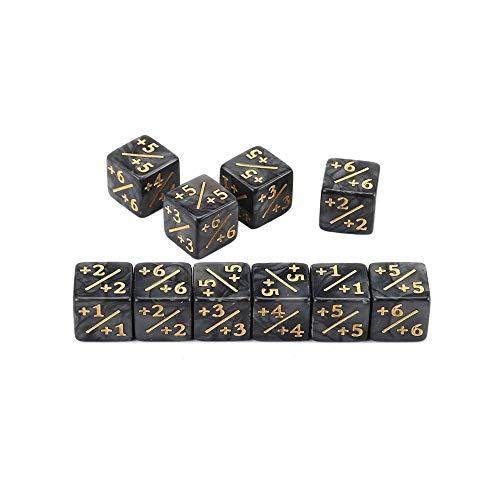 Erduo 10x Würfelzähler 5 Positiv + 1 / + 1 & 5 Negativ -1 / -1 Für Magie Das Sammeltischspiel Lustige Würfel Hohe Qualität - Schwarz