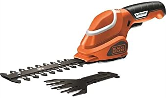 Black+Decker 7V Li-Ion Cordless Garden Shear Shrubber Kit with 2 Blades for Box Hedges and Lawn Hedges , Orange/Black -...