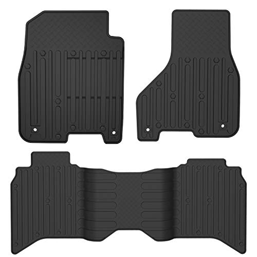 oEdRo Floor Mats Compatible for Crew Cab 2012-2018 Dodge Ram 1500/2500/3500, 2019-2020 Dodge Ram 1500 Classic Models, Black TPE All Weather Guard 1st and 2nd Row Custom Fit Floor Liners