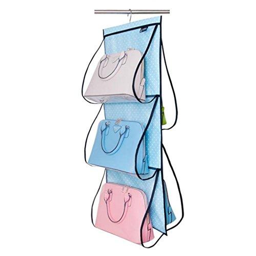 Sacs de rangement Xuan - Worth Another Sac à provisions en Tissu Oxford Blanc à Pois Blanc Suspendu pour penderie Transparent Sac Multicouche
