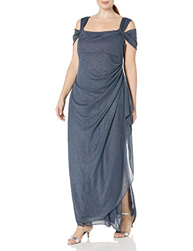 Alex Evenings Women's Plus Size Long Cold Shoulder Dress, Smoke, 20W