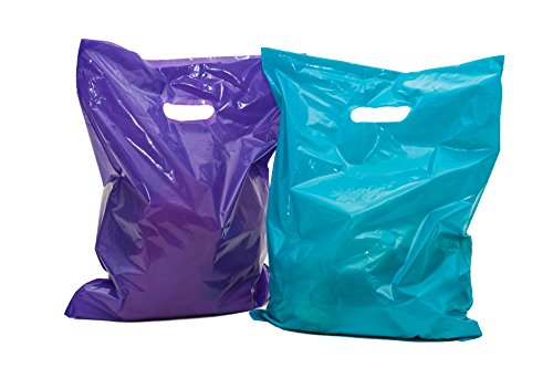 "Merchandise Bags 16x18: 100 Purple and Teal 16x18"" Extra Thick Large Retail Shopping Bags, Plastic Bags with Handles; Plastic Retail Bags; for Small Retail Shops"