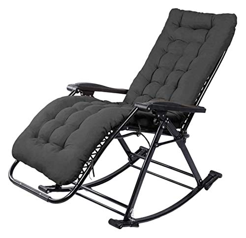MTCWD Rocking Chair Ith Cushions Zero Gravity Chaise Lounges Patio Lounger Chair Outdoor Office Beach Folding Portable Recliner (Color : Black)