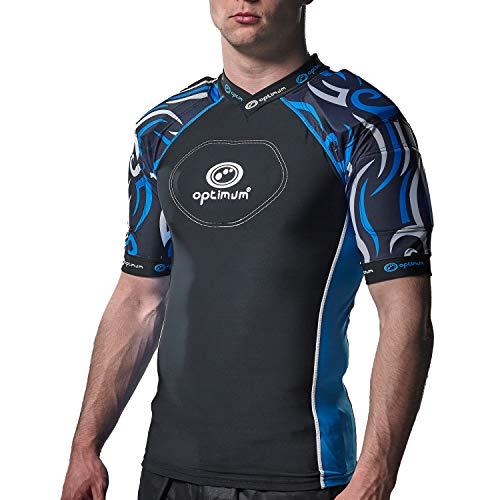Optimum Razor Rugby Oberteil mit Schulterschutz, schwarz / blau, S