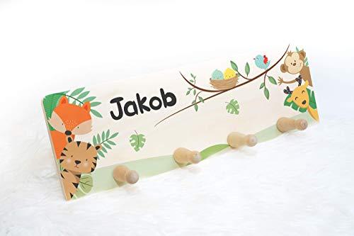 Kindergarderobe aus Holz mit 5 Haken, Kleiderhaken als Geschenk für Kinder, Garderobenleiste personalisiert mit Wunschname, Motiv: Waldtiere