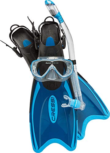 Adult Light Weight Premium Travel Snorkel Set - Mask & Fins made in Italy | PALAU LAF SET by Cressi: quality since 1946