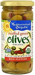 Mediterranean Organic Stuffed Green Olives with Red Peppers 8.5 oz (Pack of 3)