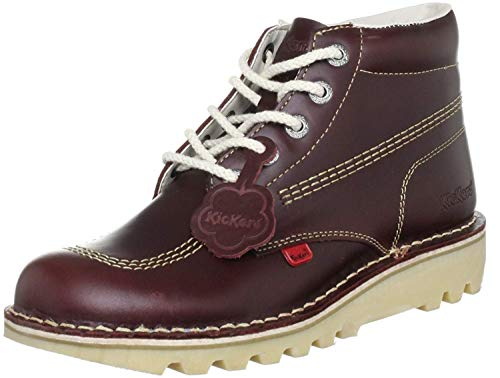 #Kickers Hi Core Dark Red Leather Mens Boots