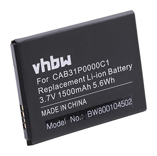 vhbw Akku 1500mAh (3.7V) für Smartphone Handy Handy Alcatel One Touch Fire C, OT-4019A, OT-4019M, Pop C2 Dual, OT 4032D wie BY71, CAB31P0000C1.