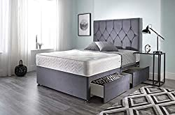 """Luxury Grey Plush Divan Base With 2 Drawers Same Side Comes With A Headboard 32"""" High Hand Tufted Memory Sprung Mattress Mattress Tension: Medium Level of Support Please Read The Delivery Information Before Placing Any Orders"""
