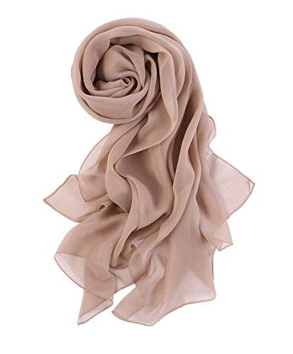 prettystern 176cm Uni-farbe Leicht Seidenstola Crepe Georgette Schal - Warm Taupe