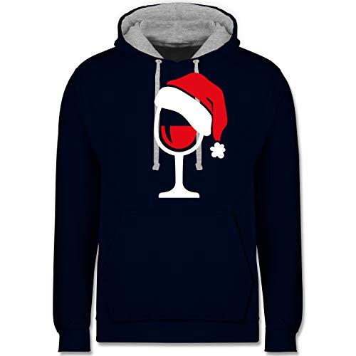 Weihnachten & Silvester - Weinglas mit Weihnachtsmütze - XS - Navy Blau/Grau meliert - Rotwein - JH003 - Hoodie zweifarbig und Kapuzenpullover für Herren und Damen
