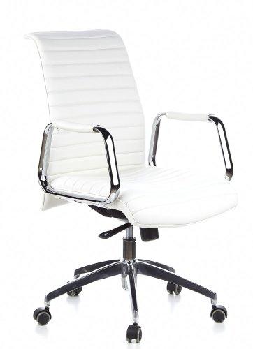 hjh OFFICE 600912 Chefsessel ASPERA 10 Leder Weiß/Chrom hochwertiger Bürostuhl, mittelhohe Rückenlehne