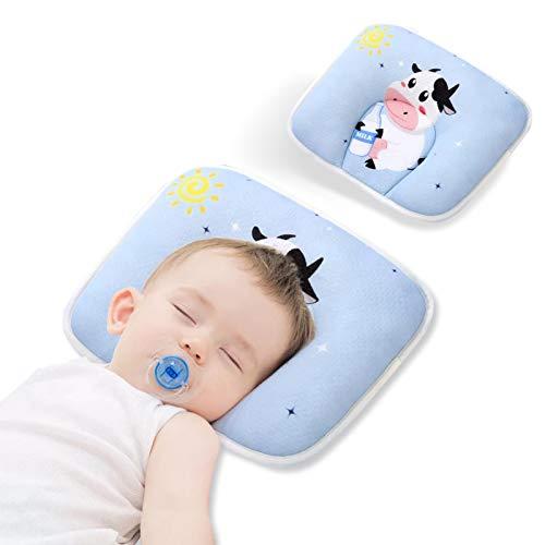 Fluffy Baby Kissen gegen plattkopf,Orthopädisches kinderkissen,Verhindern Sie Schädelverformungen / atmungsaktiv / hypoallergen für Neugeborene/0-24 Monate 28*20cm(Blaue Kuh)