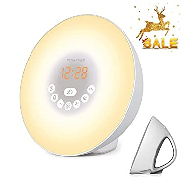 Sunrise Alarm Clock, Wake Up Light with 6 Nature Sounds, FM Radio, Color Light, Bedside Sunrise Simulator (White) (White)