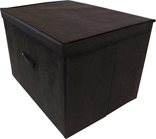 Neusu Heavy Duty Super Jumbo XXL Foldable Black Storage Box With Lid - 60cm x 45cm x 40cm (100 Litre Capacity) – Pack of One, Black