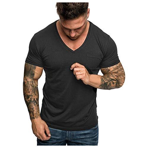 Yowablo Herren Poloshirt Polohemd Stehkragenshirt Kurzarmshirt Funktionsshirt Sportshirt Fitness Shirt Tee T-Shirt Sporthemd Trainingsshirt Sportswear T-Shirt (L,1Schwarz)