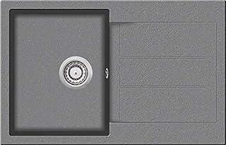 Granitspüle W780 Küchenspüle in versch. Farben Einbauspüle Granit inkl. Drehexcenter, Ab- und Überlaufgarnitur ab 45er Spülenunterschrank Made In Germany Grau