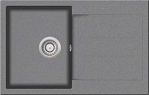 Granitspüle W780 Küchenspüle in versch. Farben Einbauspüle Granit inkl. Drehexcenter, Ab- und Überlaufgarnitur ab 45er Spülenunterschrank Made In Germany (Grau)