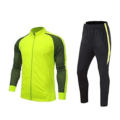 Mikelabo Conjunto de chándal transpirable para hombre con sudadera ligera y cómoda ropa de gimnasio para correr y hacer ejercicio con cremallera completa, verde, M