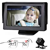 Baby Car Mirror SAMFIWI Car Seat Mirror Camera and Monitor with Infrared Night Vision Best Baby Monitor and Camera for Baby Car Seat Rear Facing