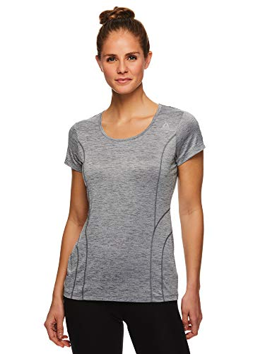 Reebok Women's Gym & Workout T-Shirt - Dynamic Fitted Performance Short Sleeve Athletic Top - Dynamite Quietshade Heather, Medium