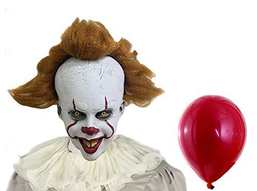 BIRDEU Clown Maske Latex Kopf Helm mit Perücke 2019 Film Cosplay Kostüm für Halloween Party Kleidung Zubehör (Version A, Einheitsgröße)
