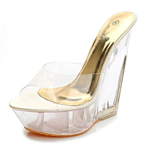 Sandali da Donna con Zeppa Tacco Alto Tacco Estivo da Donna Trasparente Fondo Spesso Casual Slip-on Scarpe Open-Toe Piattaforma