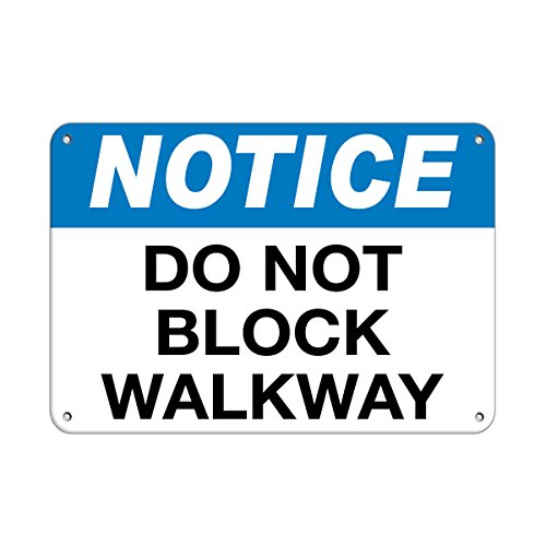 """Notice Do Not Block Walkway Traffic Sign Label Vinyl Decal Sticker Kit OSHA Safety Label Compliance Signs 8"""""""