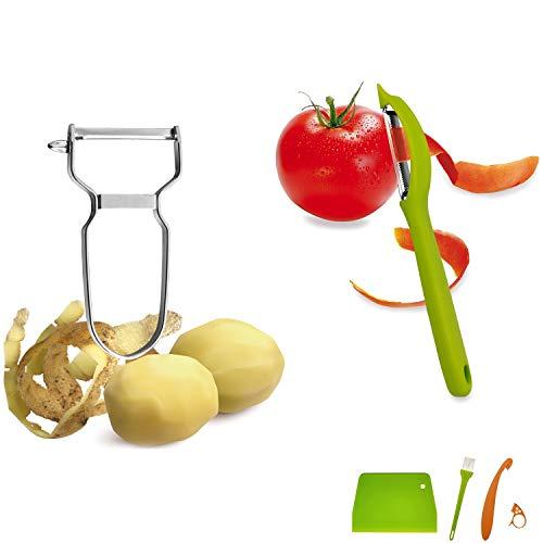 Pelador de Patatas + Pelador de Tomates/-Kiwi + Pelador de Naranjas - CuOmix Juego de Peladores para Frutas y Verduras