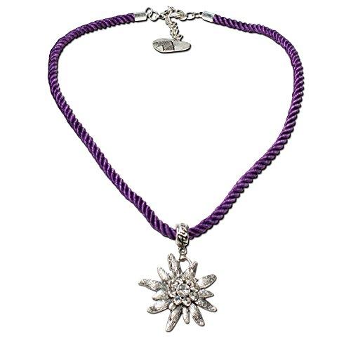 Alpenflüstern Kordel-Trachtenkette Strass-Edelweiß - Damen-Trachtenschmuck Dirndlkette lila-violett DHK100