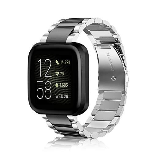 Fintie Armband kompatibel mit Fitbit Versa/Fitbit Versa 2 / Fitbit Versa Lite - 22mm Uhrenarmband Edelstahl Metall Ersatzband für Fitbit Versa Health & Fitness Smartwatch, Silber/Schwarz