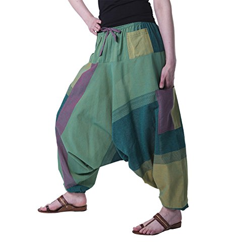 KUNST UND MAGIE Bunte Aladin Haremshose, Farbe:Grün